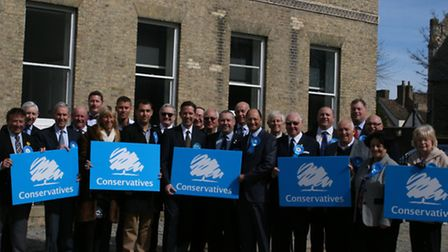 Members of the Conservative Party in Huntingdonshire gather for the launch of its election campaign.