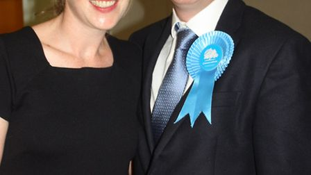 Oliver Dowden, Hertsmere MP, with his wife, Blythe, on election night