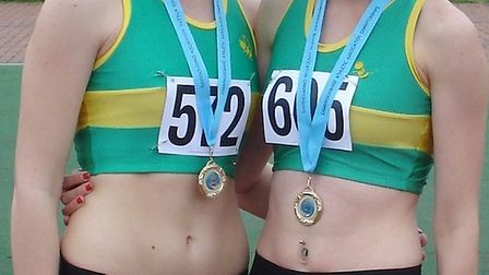 Ella Blake (left) and Siobhan Skinner (right) of Hunts AC both won county titles.