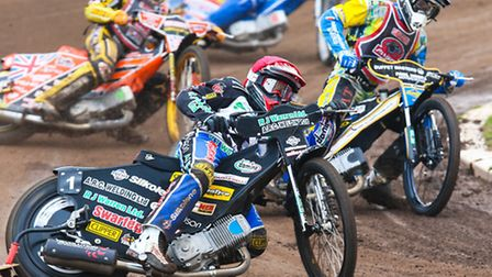 Danny King leading the way while riding for Ipswich against Peterborough earlier this season. Pictur
