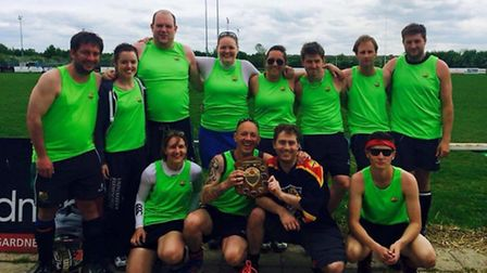 The St Ives team which won the Ely Mixed Hockey Tournament. Pictured are back row, left to right, Da