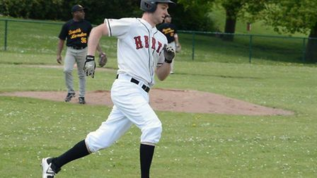 Andy Cornish rounds the bases after his first home run of the season. Picture: Paul Holdrick