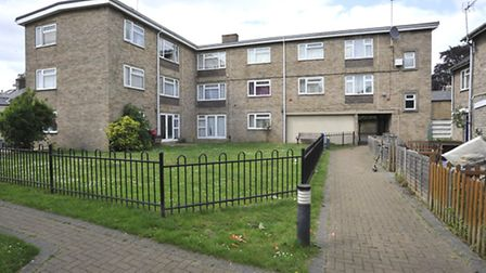 Russel Court, St Neots, where children used to play on their tramopline,
