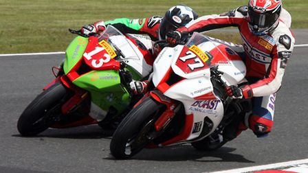 Jon Railton (right) during his return to the British Superstock 1000 series. Picture: NIGEL SHEARING