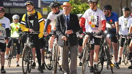 Rotary member Bede Fox starting his 20th St Albans charity cycle race