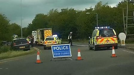 Police closed the road after the accident on the A141 at Wyton.