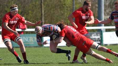 Brett McNamee, with the ball, against Hartpury
