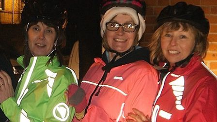 Some of the Houghton and Wyton Ride the Night team (from left) Hilary Barden, Amanda Waughman and Sa