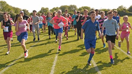 Schools race for life, at St Peters School, Huntingdon,