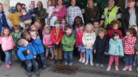 Foxton pre-school pupils ready to take a ride on the train.