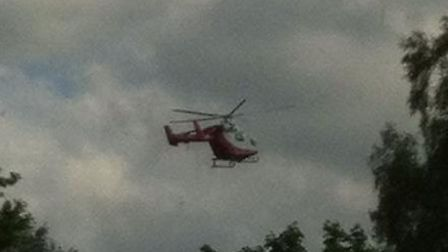 An air ambulance flying over Drakes Drive - photo courtesy of Sharon Smith
