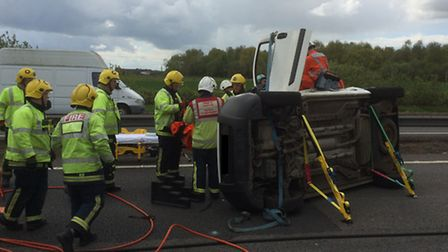 The overturned van on the A14. Picture: MAGPAS