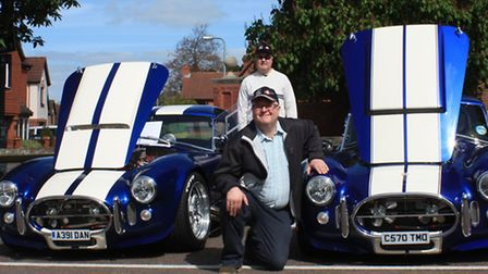 Danny and Jon Smith from Buntingford proudly show off their twin Dax Kit Car Cobra replicas which ea