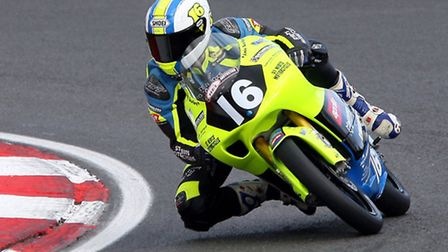 Andy Sawford in action at the second round of the HEL Performance Motostar British 125cc Championshi