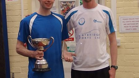 Cambridgeshire County Closed Championships winner Rob Dadds (left) with Hunts County head coach Coli