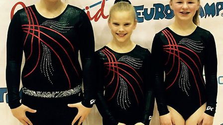 Rotations Trampolining Club members, from the left, Kathryn Marson, Carys verdicchio and Hannah Morr
