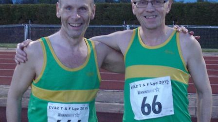 Bruce Grimley (left) and Richard Holland both won 3,000m races for Hunts AC in the Eastern Vets Leag