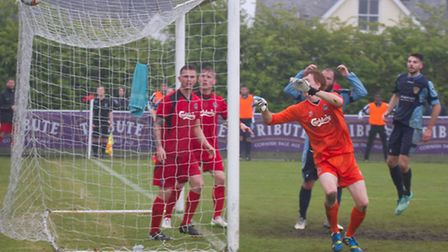 St Neots players Lee Clarke and Tom Ward watch on as they come close to scoring in their Southern Le