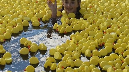 Hannah Melesi, 13, who swam with the ducks in 2013, pictured at the finish line