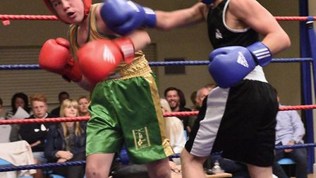 Tommy Browning of St Ives Boxing Academy (right) in action during their show at The Corn Exchange