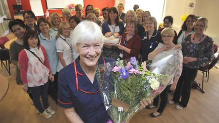 At Hinchingbrooke Hospital, is retirement party for Susan Martin, community respiratory nurse specia