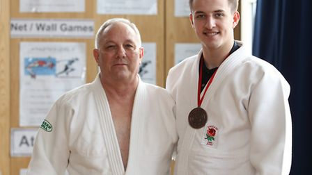 Marshalswick judo club head coach Doug Seabrook and former Skyswood pupil and bronze medal winner fo