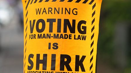 One of the stickers which were seen along Hatfield Road