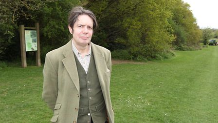 Cllr Simon Leadbeater on the patch of land which he is hoping to be turned into a new meadow