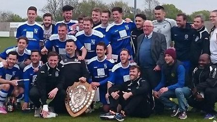 Godmanchester Rovers celebrate their runners-up finish in the Thurlow Nunn Premier Division.