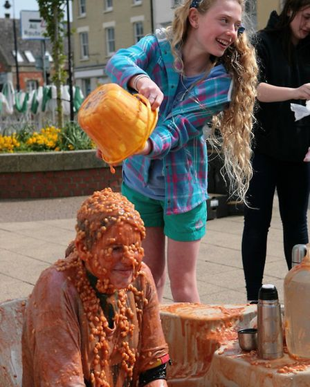 Annabelle Carder's bean bath for St Ives Youth Theatre. Picture: ANDY DAVIS