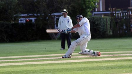 Shenley's man of the Match Tom Bruce in action. Picture: John Smith