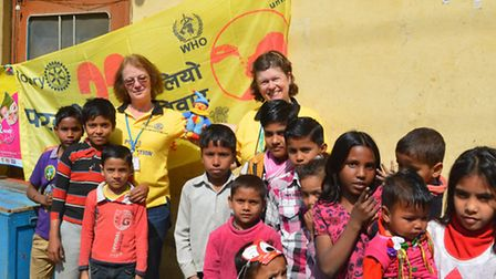 Judy Makin, left, and Rotary St Albans Priory president Caroline Ellis in India.