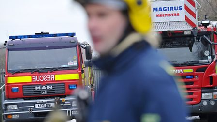 Fire engines and firefighter at training centre