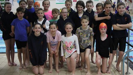 The St Ives Swimming Club squad at the final round of the City of Peterborough Mini Meet.