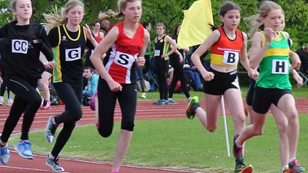 Shannon Flockhart (right, in green) won her 1500m race at the first East Anglian League meeting of t
