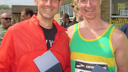 Hunts AC runners Dave Connell (left) and Wayne Gimblett were age-group winners at the Eye 10k.