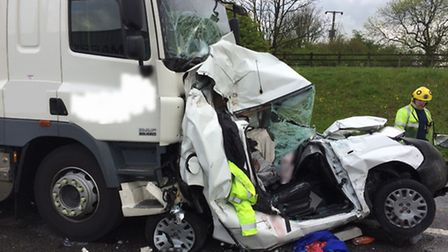 Accident on the A1(M) near Sawtry. Picture: CAMBS FIRE AND RESCUE SERVICE