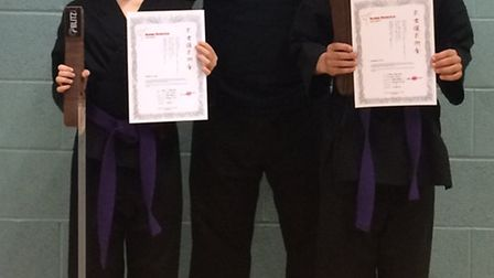 Emily Carolan and Kyran Gosling with chief instructor Kevin Archibald