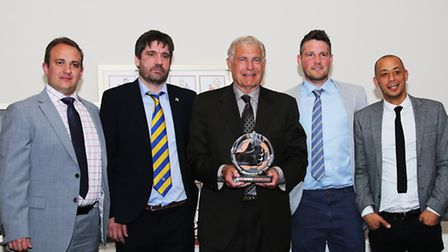 Rhys Tom, Graham Golds, Jimmy Gray and Mark Boyce with Sir Trevor Brooking at St Albans City's Sport