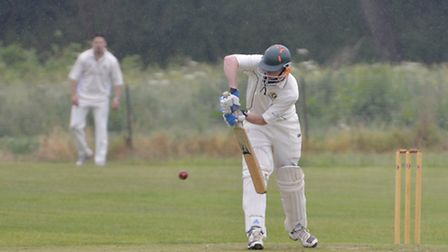 Tom Banks on his way to a century for Eaton Socon against Cambridge NCI.