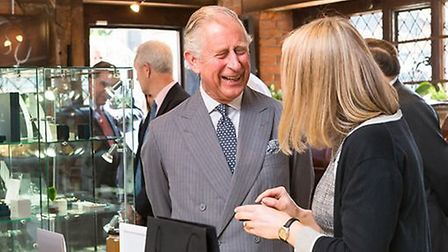 Prince Charles visited St Albans jeweller Fiona Rae. Photo by Yvonne Chakraborty