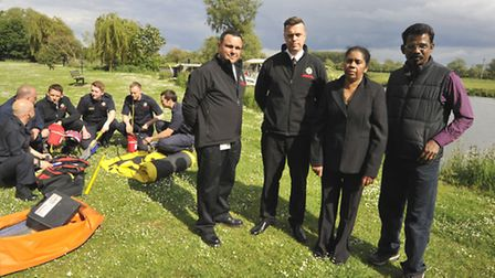 Launch of Remember Rony, Water Safety Campaign, at Riverside, Hartford, with (l-r) St Neots Watch Co