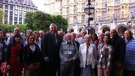 The group with MP Sir Oliver Heald outside Big Ben.