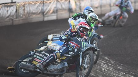 Danny King out in front in Event Two of the Speedway World Cup. Picture: IAN BURT.