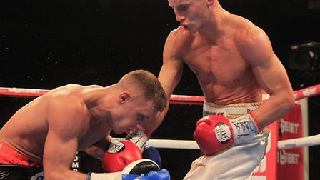 Tommy Martin during his English light-welterweight title success against Ricky Boylan. Picture: LAWR