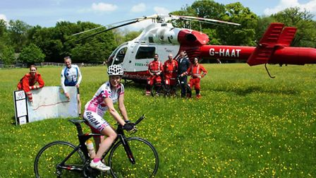 Foreground: Shusanah Pillinger (on her bike) Middle ground (L-R): Erica Ley, Critical Care Paramedi