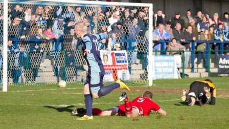 Lewis Hilliard celebrates scoring for St Neots Town in their 1-0 win over Bideford on March 28. Pict