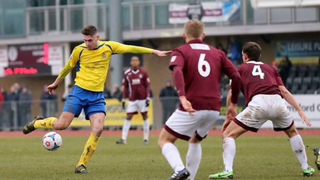 James Kaloczi has a shot at goal. Picture: Leigh Page