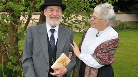 Hugh Pollock and Naomi Brind dress up as James Joyce characters Leopold Bloom and Molly Bloom