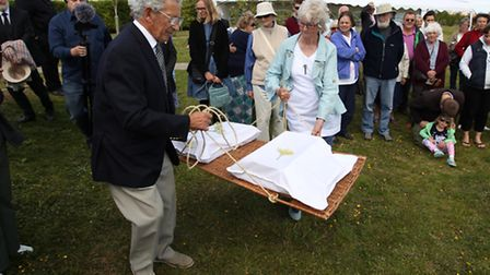 Mike Sherwen, (Melbourn Parish Cllr) and Ruth Farrer, during the burial